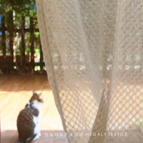 HEGALY 法式復古窗紗肌理客廳透光隔斷簾浪漫簡約裝飾外貿可定製