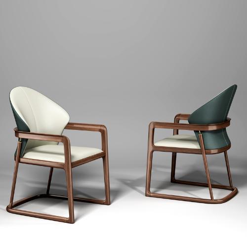 新中式實木辦公木腳皮椅書桌椅組合簡約輕奢簡約現代原木餐椅家用