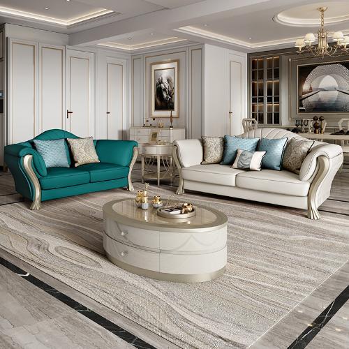 輕奢茶几圓形簡約現代客廳玻璃茶几大戶型美式實木茶几電視櫃組合