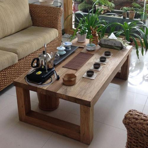 美式復古茶几桌實木功夫茶几簡約現代創意客廳沙發小戶型仿古茶桌