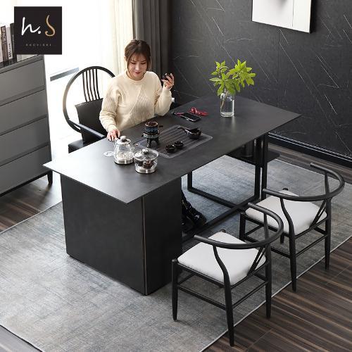 意式巖板網紅茶桌椅組合現代簡約功夫茶几辦公室茶臺黑曼巴風傢俱