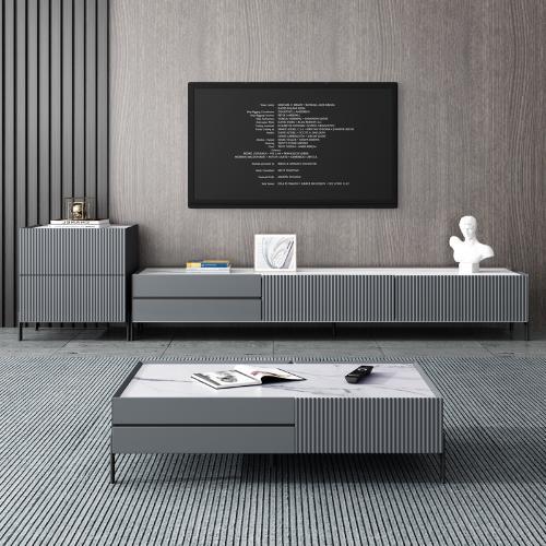 北歐巖板茶几電視櫃大小戶型家用簡約現代極簡茶几桌地櫃組合套裝