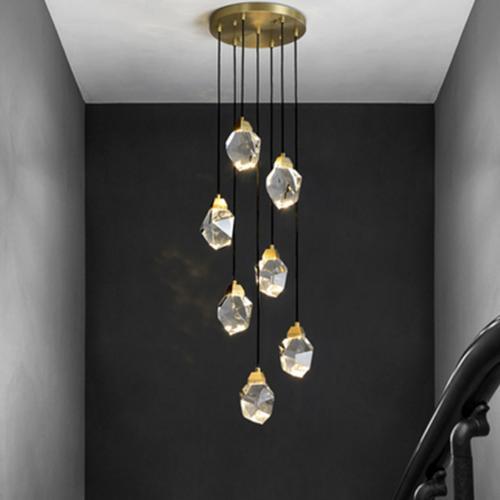 全銅後現代別墅藝術旋轉複式樓輕奢燈餐廳客廳樓梯間單頭水晶吊燈