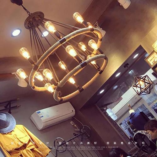 美式鄉村餐廳酒吧服裝店麻繩吊燈復古工業風loft創意個性懷舊燈具
