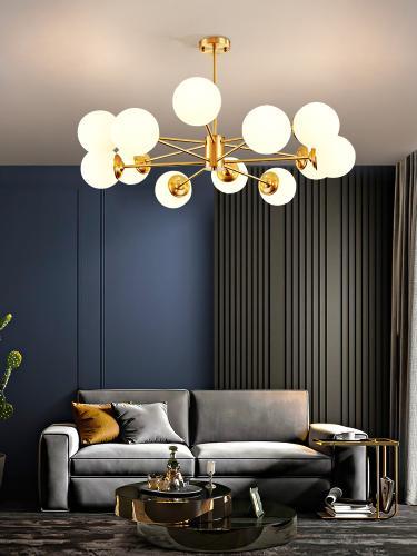客廳燈 全銅輕奢魔豆分子餐廳網紅北歐風格燈飾現代簡約燈具吊燈D