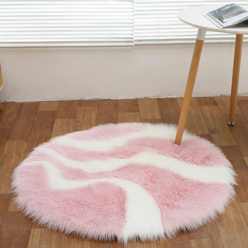 北歐長毛絨牀邊地毯臥室客廳家用飄窗地墊仿羊毛滿鋪櫥窗拼色圓形