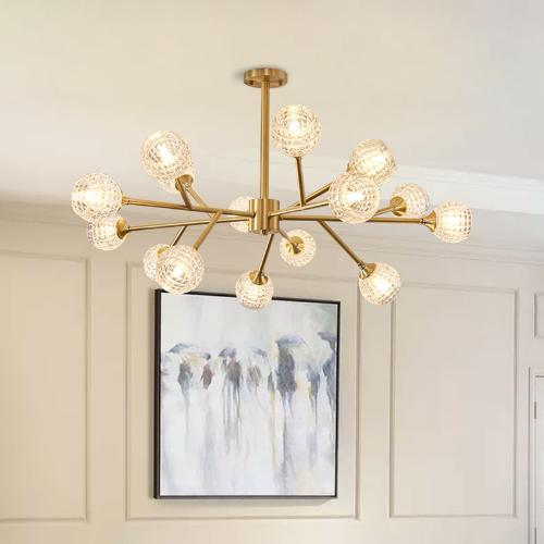 後現代吊燈輕奢客廳全銅北歐簡約餐廳臥室燈具燈飾水晶創意分子燈