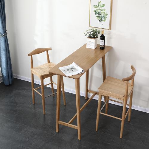白橡木吧檯 北歐風實木高腳桌隔斷桌原木簡約日式家用靠牆吧檯桌
