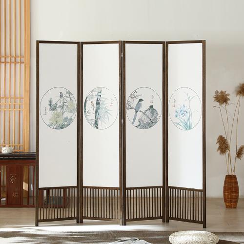 廠家批發訂製松木染色酒店辦公家居美容茶室新中式屏風隔斷玄關