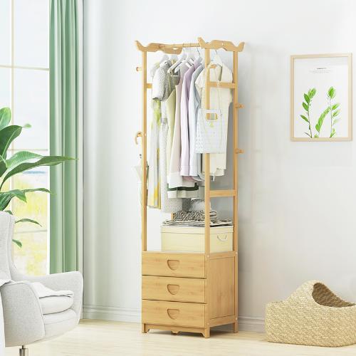 簡易衣帽架實木臥室網紅掛衣架子落地衣服收納置物家用簡約現代