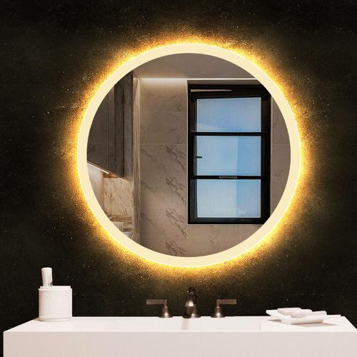BOLEN智能LED浴室鏡衛生間鏡子衛浴鏡壁掛洗漱臺酒店鏡子圓形燈鏡