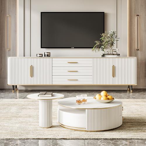輕奢電視櫃茶几組合現代簡約高客廳小戶型客廳時尚巖板電視機櫃