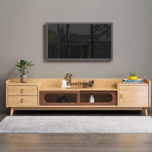 北歐現代創意實木電視櫃多功能小戶型客廳儲物視聽櫃傢俱套裝定製