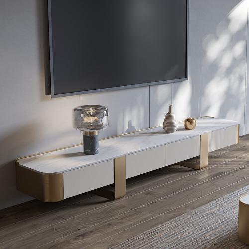 輕奢大理石高電視櫃茶几組合港式客廳新款時尚高端意式巖板電視櫃