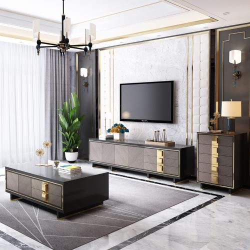 輕奢電視櫃茶几組合現代簡約臥室美式高款烤漆大理石意式巖板地櫃